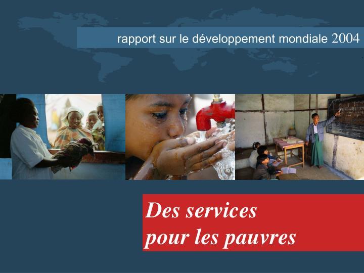 rapport sur le développement mondiale