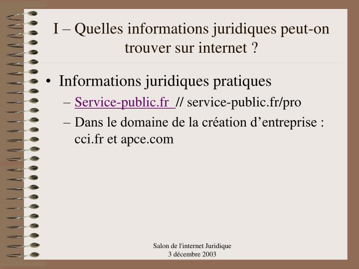 I – Quelles informations juridiques peut-on trouver sur internet ?
