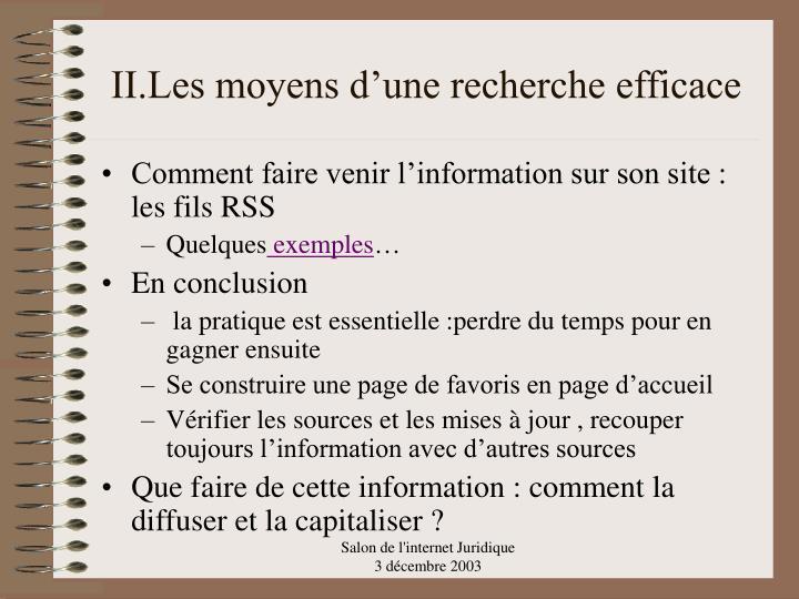 II.Les moyens d'une recherche efficace