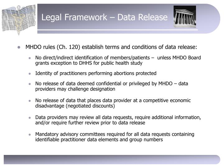 Legal Framework – Data Release