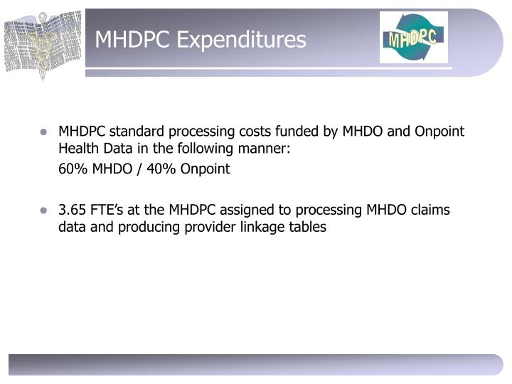 MHDPC Expenditures