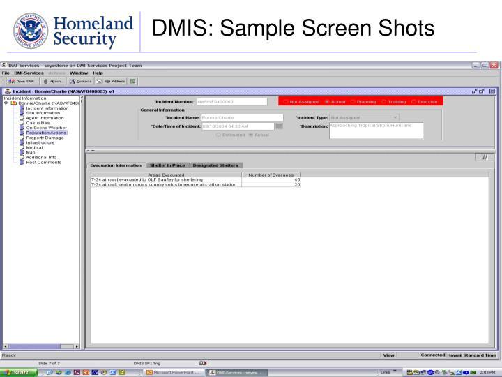 DMIS: Sample Screen Shots
