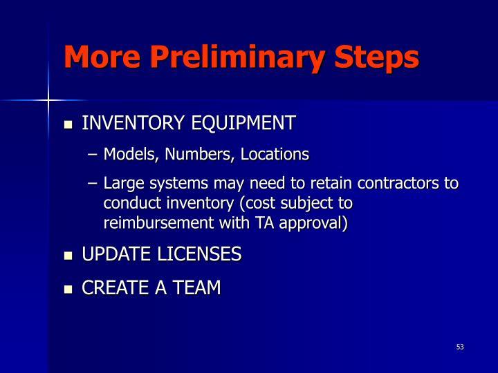 More Preliminary Steps