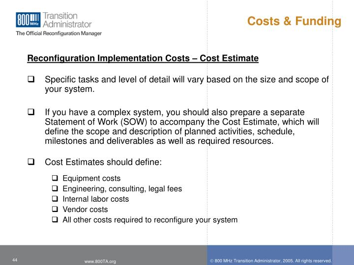 Costs & Funding