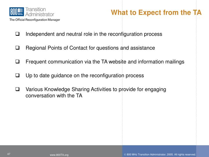 What to Expect from the TA