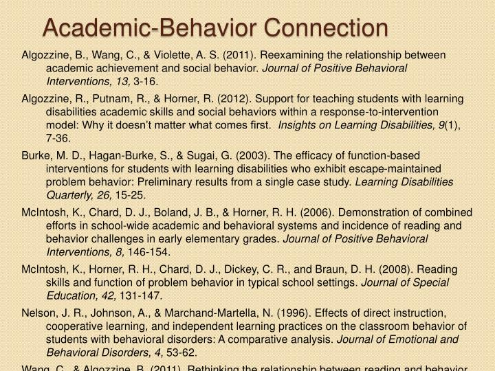 Academic-Behavior Connection