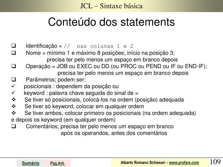 JCL – Sintaxe básica