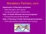 mandatory partners cont