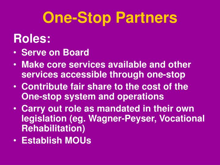 One-Stop Partners