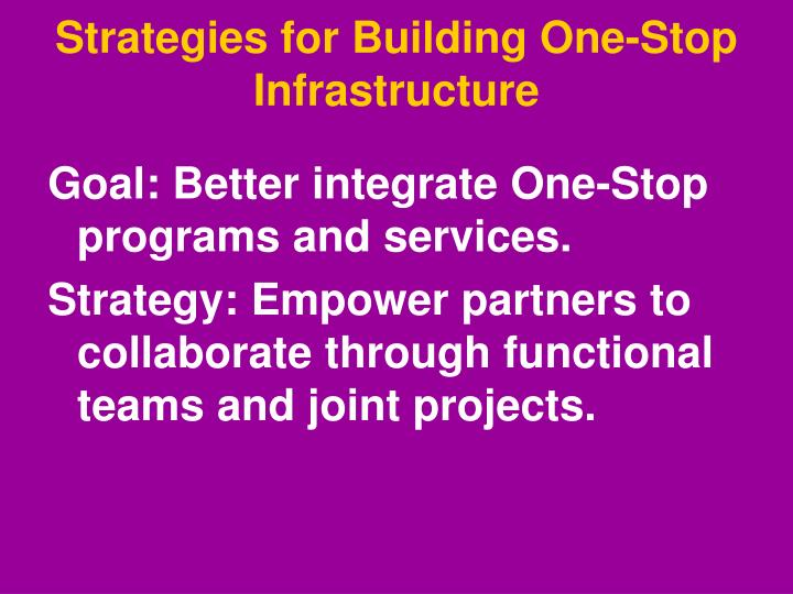 Strategies for Building One-Stop Infrastructure