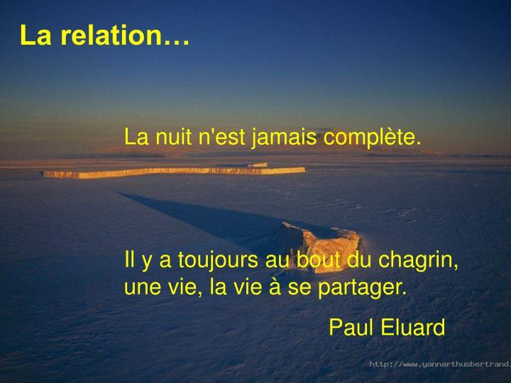 La relation…
