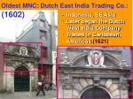 oldest mnc dutch east india trading co