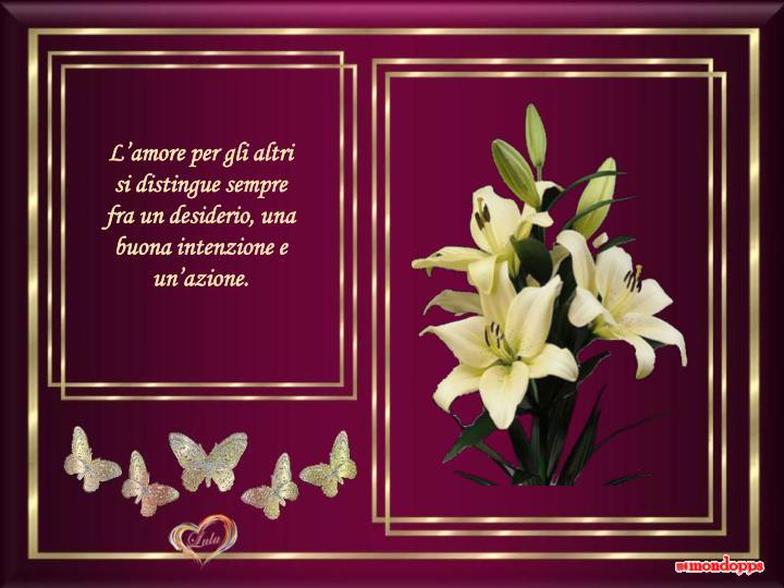 L'amore per gli altri si distingue sempre fra un desiderio, una buona intenzione e un'azione.