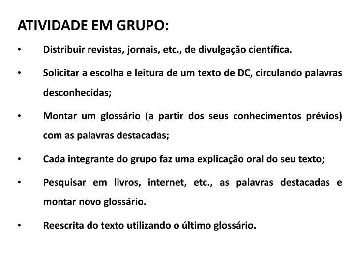 ATIVIDADE EM GRUPO: