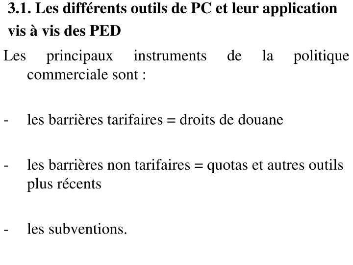 3.1. Les différents outils de PC et leur application vis à vis des PED