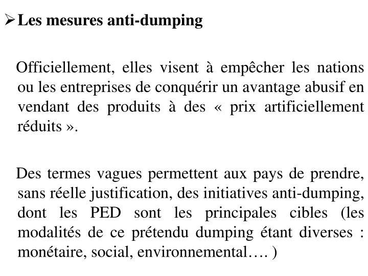 Les mesures anti-dumping