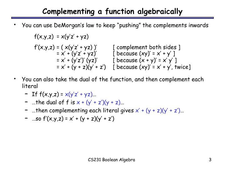 Complementing a function algebraically