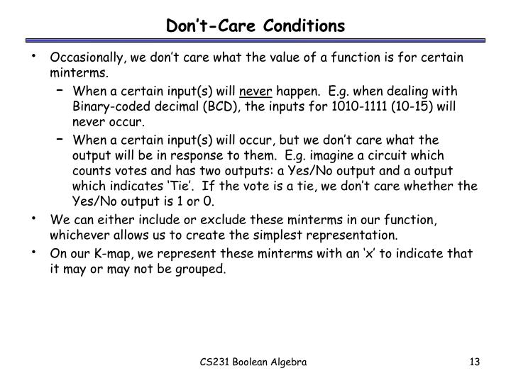 Don't-Care Conditions