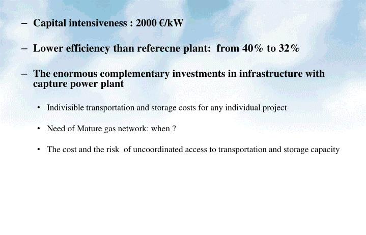 Capital intensiveness : 2000 €/kW
