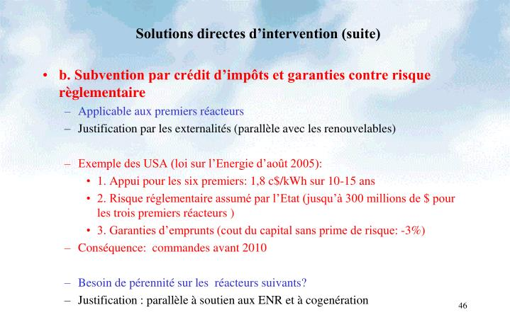 Solutions directes d'intervention (suite)
