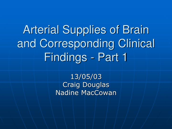 arterial supplies of brain and corresponding clinical findings part 1