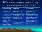 differences between preceptoring mentoring and supervision