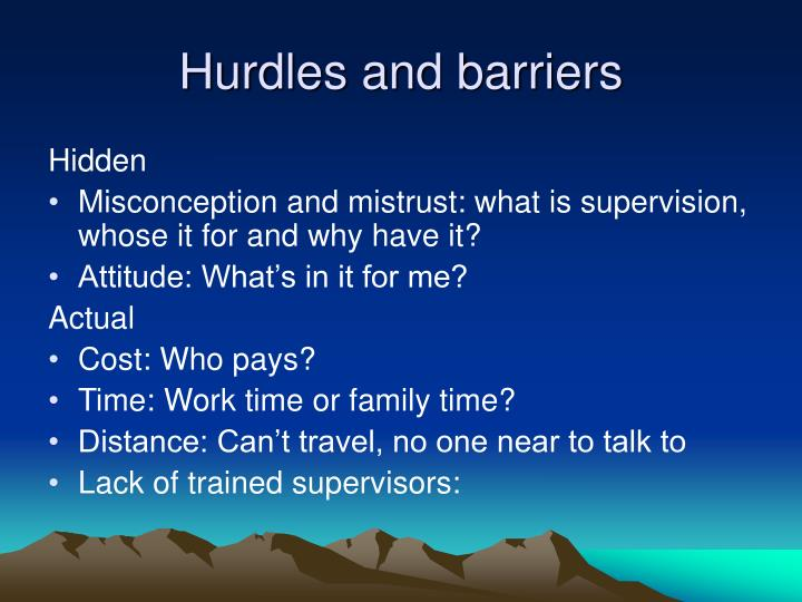 Hurdles and barriers
