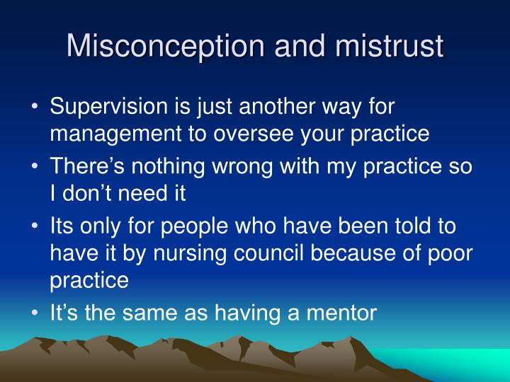 Misconception and mistrust