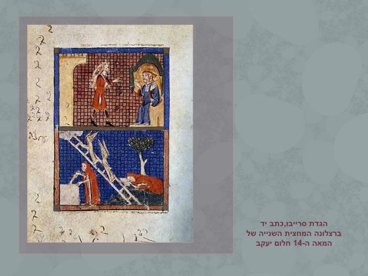 הגדת סרייבו,כתב יד                                 ברצלונה המחצית השנייה של המאה ה-14 חלום יעקב