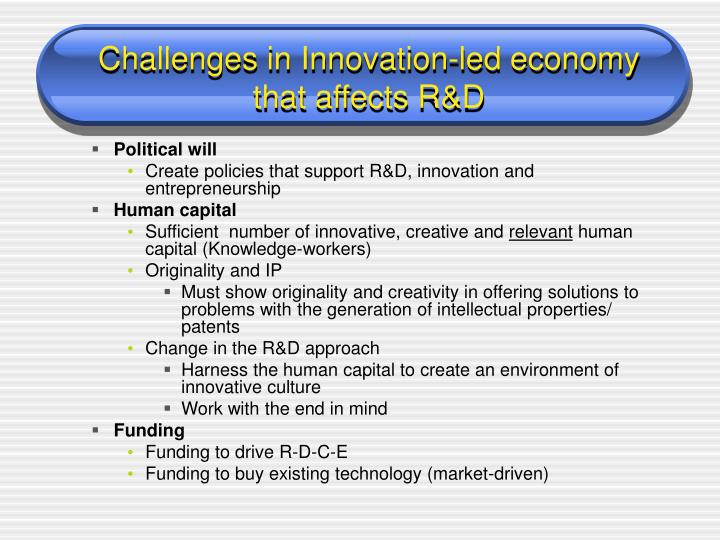 Challenges in Innovation-led economy
