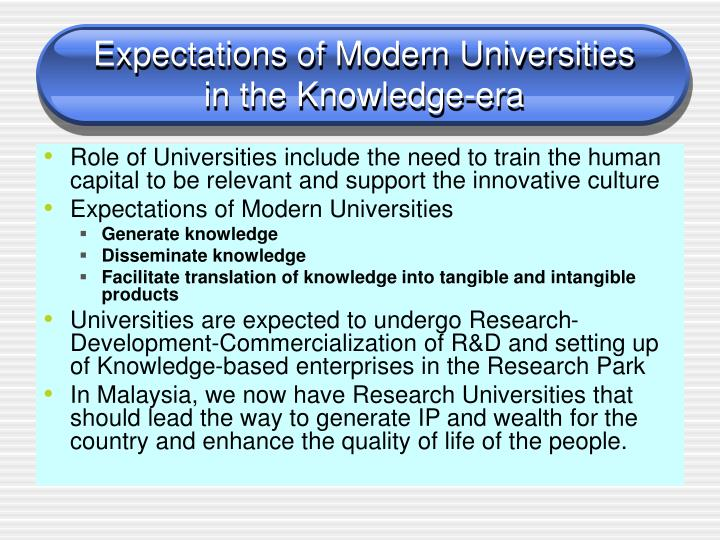 Expectations of Modern Universities
