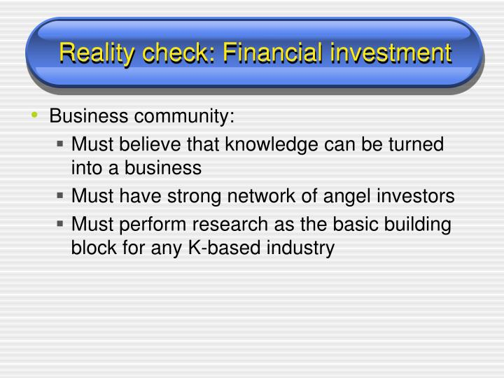 Reality check: Financial investment