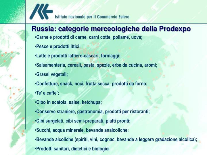 Russia: categorie merceologiche della Prodexpo