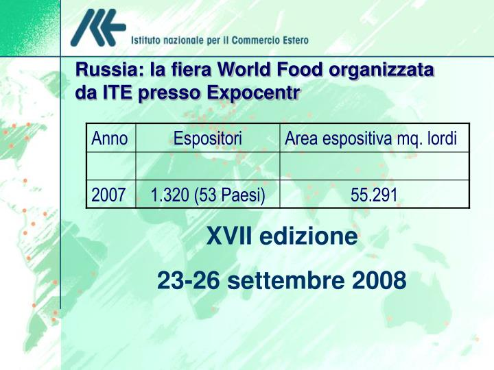 Russia: la fiera World Food organizzata da ITE presso Expocentr