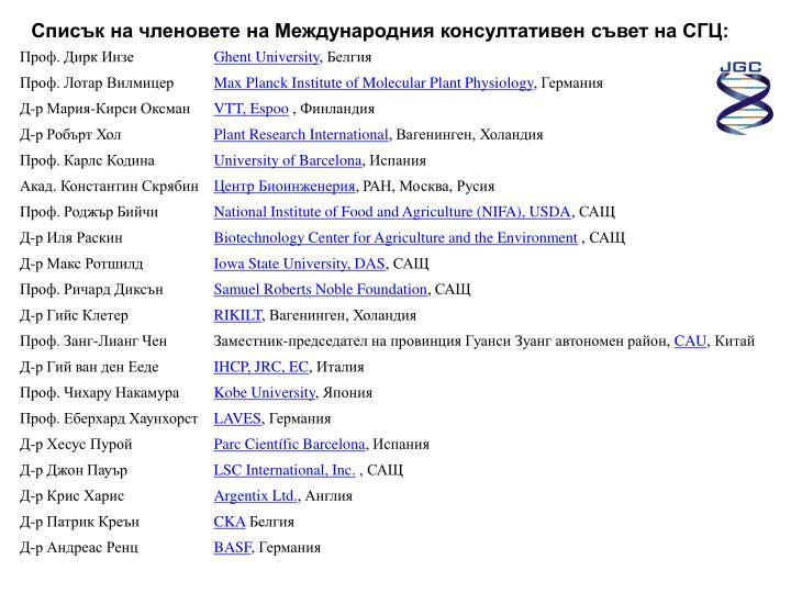 Списък на членовете на Международния консултативен съвет на СГЦ: