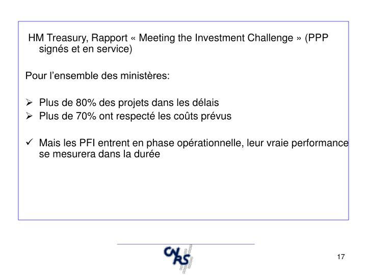 HM Treasury, Rapport « Meeting the Investment Challenge » (PPP signés et en service)