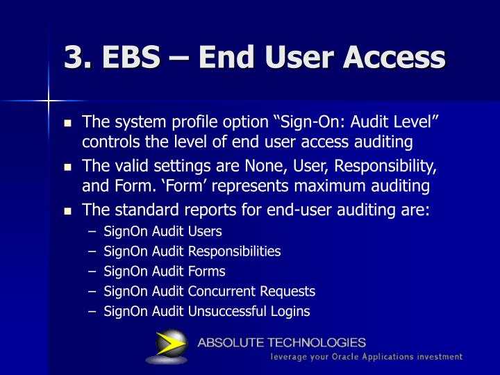3. EBS – End User Access