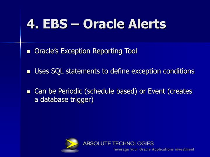 4. EBS – Oracle Alerts