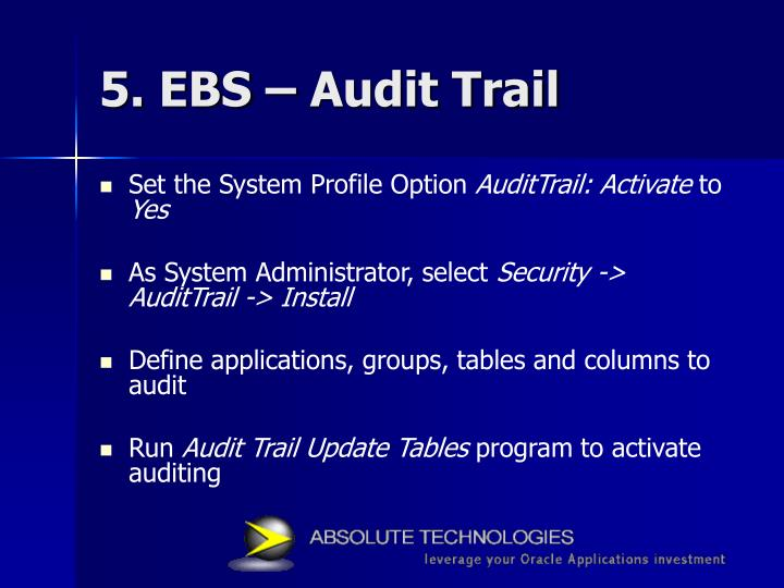 5. EBS – Audit Trail