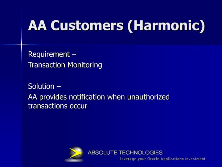 AA Customers (Harmonic)