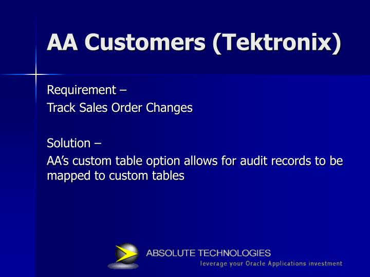AA Customers (Tektronix)