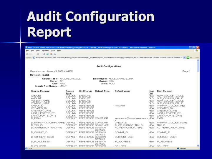 Audit Configuration Report
