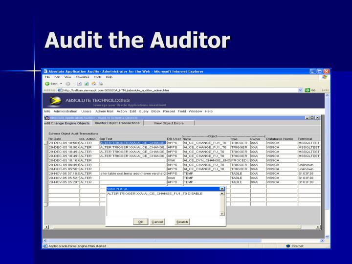 Audit the Auditor