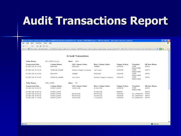 Audit Transactions Report