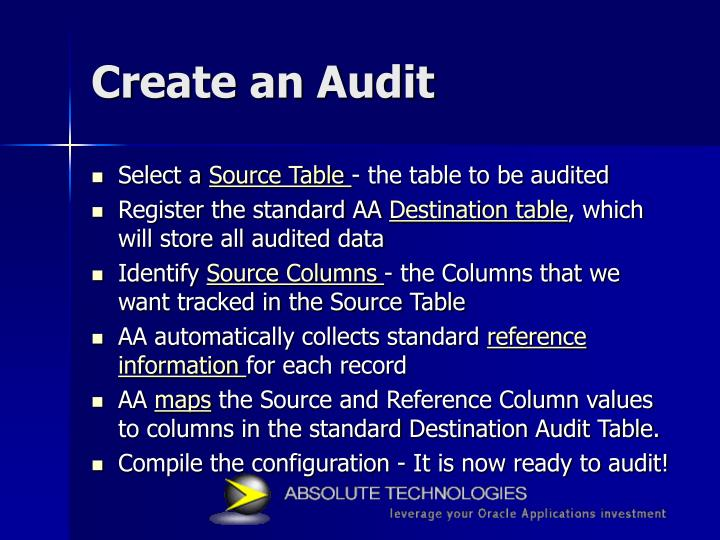 Create an Audit