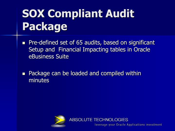 SOX Compliant Audit Package