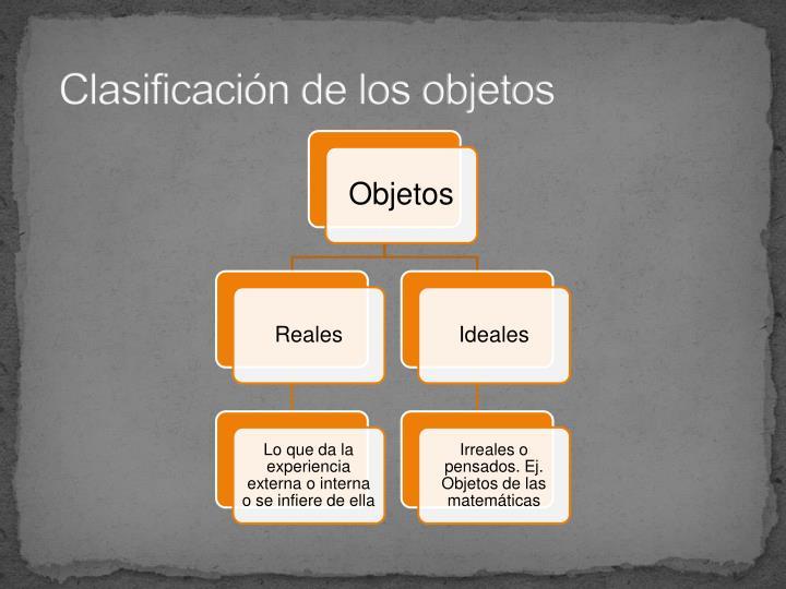 Clasificación de los objetos