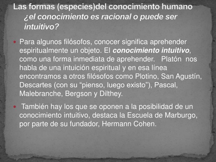Las formas (especies)del conocimiento humano