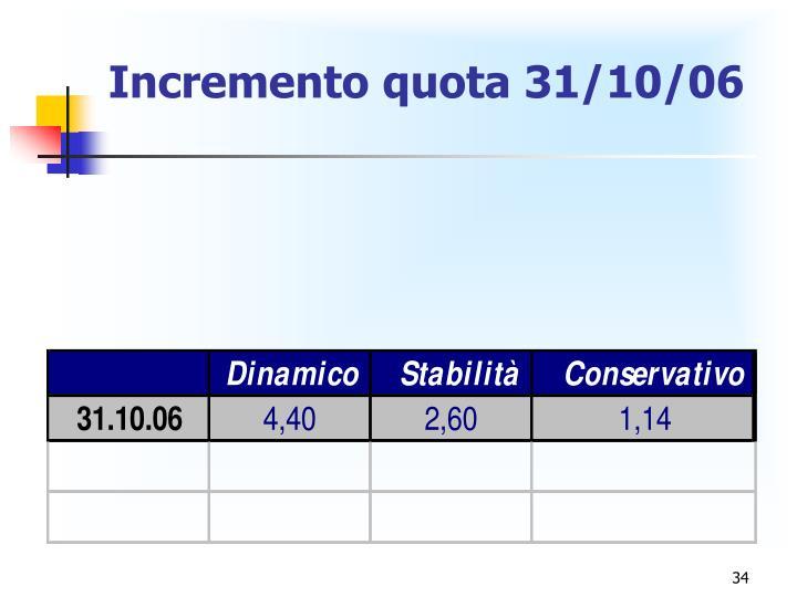 Incremento quota 31/10/06