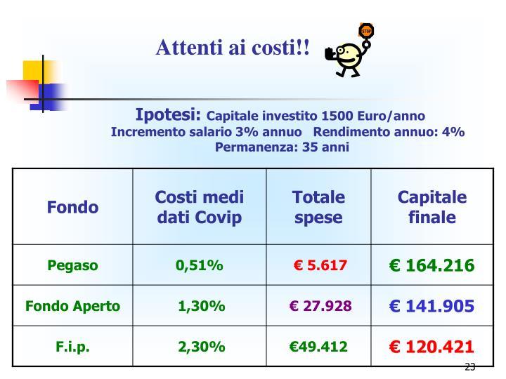 Attenti ai costi!!
